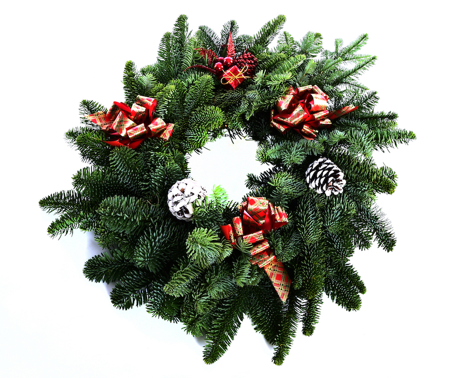 Deluxe Noble Fir Wreath (Red Tartan)